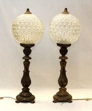 2 OLD FRENCH METAL CANDLESTICKS LAMPS GLASS GLOBES