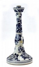 CHINESE REPUBLIC BLUE & WHITE CANDLESTICK