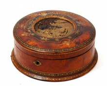 ANTIQUE CONTINENTAL LEATHER BOUND WOOD BOX