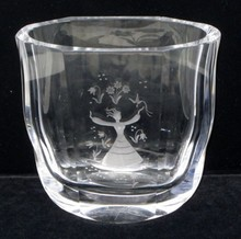 orrefors engraved glass vase #2956