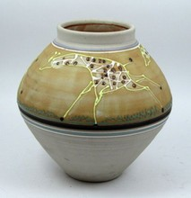 GIRAFFE SIGNED HAND PAINTED ART POTTERY