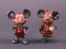 Mickey and Minney Mouse painted lead figurines.  Extremely rare to find the set.  (Size: See last photo for measurement.)
