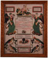 Early Fraktur/Birth certificate framed under glass.  Dated 1800 Pennsylvania Dutch (German).  Hand painted and engraved by Johann Ritter for Leonard Otto.  Great color and good condition for this early example though it has minor tears and creases.