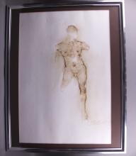 Figure Study, signed by artist.  Unclear signature.  (Size: See last photo for measurement.)