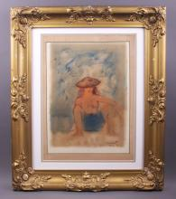French Painting, 1955, signed by artist.  Original on tempura paper. (Size: See last photo for measurement.)