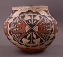 Southwest Polychrome Pottery Olla, Acoma, c. 19th Century, Native American, with concave base, high rounded shoulder, and tapered neck, with black, red-brown, and orange geometric shapes.  Private collection of Joe Dan Osceola. Comes with