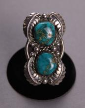 Native American Silver and Turquoise Ring with the highest quality of turquoise stones.  Worn by the Chief of the Seminole Indians Joe Dan Osceola.  Comes with C.O.A.  Very large necklace. X-ray Silver tested.  (Size: See last photo for measurement.)