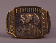 Rare Florida Seminole Native American Indian brass belt buckle.  Stamped and numbered on back side.  (Size: See last photo for measurement.)
