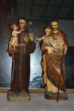 Two Cast plaster figures of baby Jesus with saints 51