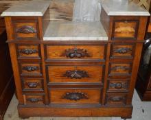 Victorian Walnut and Marble top 13 drawer dresser
