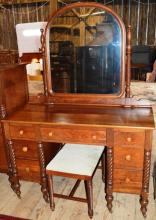 Late Federal Style Cherry vanity with mirror, stool