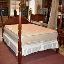 Henkel-Harris Wild Black Cherry Queen size Poster Bed, premium mattress and box spring