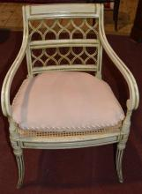 French painted and cane seat arm chair