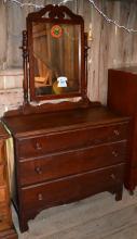 Three drawer dresser with mirror