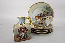 Set Austrian Hunt Scene Plates and Pitcher