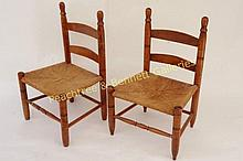Pair American Maple Ladder Back Child Chairs