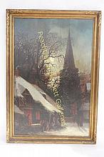 19th C. Continental Snow Scene Painting