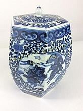Chinese Porcelain Blue & White Six Sided Jar
