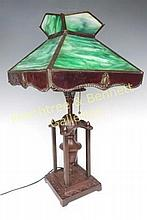 American Arts & Crafts Slag Glass Lamp