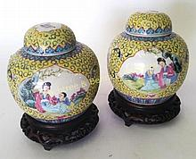 Pair Chinese Yellow Ginger Jars