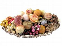 Stone Fruit Set W/ Silver Plate Tray