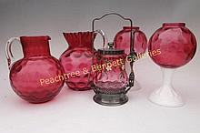 Group Five Cranberry Glass Articles