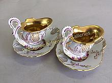 Pair Dresden Helmet Cup and Saucers