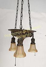 American Three Light Fixture Art Glass Shades