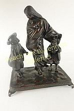 Japanese Bronze Figure of Mother and Child