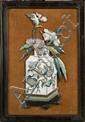 Plaque en bronze et émaux cloisonnés polychromes représentant un vase fleuri d'hibiscus, la panse est ornée d'un oiseau perché sur un