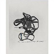 Pierre Alain HUBERT (1944) Corde à dénouer le temps Impression, encre, collage (fil) sur papier et pétard Signé, titré et numéroté 5...