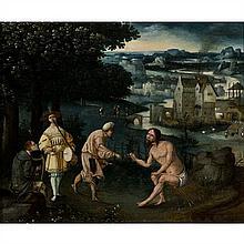 École Flamande du XVIe siècle,entourage de Cornelis Massys (actif vers 1522-1560) L'aumône de Job Panneau de chêne une planche...