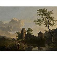 Ignatius Josephus van Regemorter  (Anvers 1785-1873) Bergers et leur troupeau près de la ferme Panneau parqueté 74 × 93,5 cm Signé e...