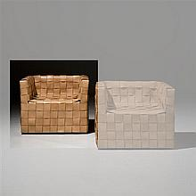 Gunnar Aagaard Andersen (1919-1982)CubeFauteuilCuirCachetÉdition Ivan schlechterDate de création : vers 1980H 60 × L 70 × P 57 cm