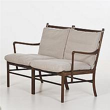 Ole Wanscher (1903-1985)ColonialCanapéPalissandre et tissuÉdition P. JeppesenDate de création : 1949H 83,5 × L 123 × P 60 cm