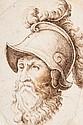 Attribué à Lionello SPADA (Bologne 1576 - Parme 1622) Tête de guerrier casqué Plume et encre brune sur traits de crayon noir ...