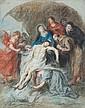 École flamande du XVIIe siècle, entourage de Rubens La mise au tombeau Pastel 37 x 29,5 cm (Taches, petites déchirures)