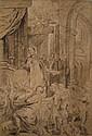 École de Jacob JORDAENS  (Anvers 1593-1678) Prêtre exorcisant une femme Crayon noir et rehauts de craie blanche  47,5 x 29,5...