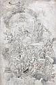 École napolitaine du XVIIIe siècle  Le triomphe d'Apollon Plume et encre brune, lavis gris  70 x 46 cm (Dessin doublé, sur d...