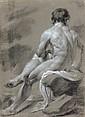 École italienne du XVIIIe siècle  Une paire d'académies d'hommes  Crayon noir et rehauts de craie blanche sur papier préparé gri...