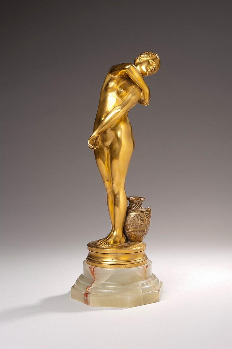 Jean-Léon GÉRÔME (1824-1904) Bethsabée, vers 1886 Épreuve en bronze doré Signé, numéroté 0962 Siot Paris fondeur Hauteur : 32 cm Bib...