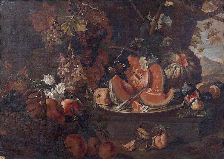 Attribué à Maximilian PFEILER (actif au XVIIIe siècle) Nature morte au plat de melons et au panier de grenades et raisins dans un paysa