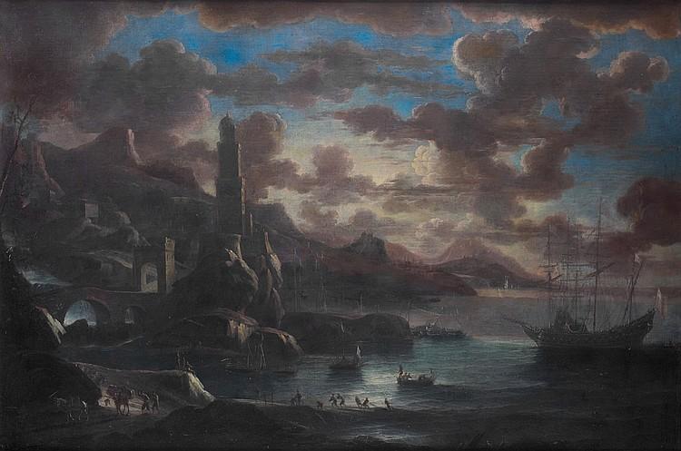 Pieter MULIER dit TEMPESTA (Haarlem 1637-Milan 1701) Port méditerranéen