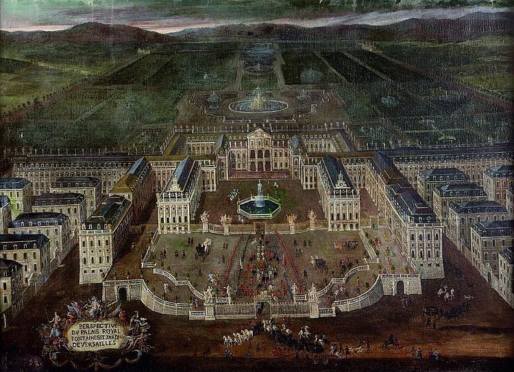 École FRANÇAISE de la fin du XVIIe siècle Perspective du Palais Royal, fontaines et jardin de Versailles
