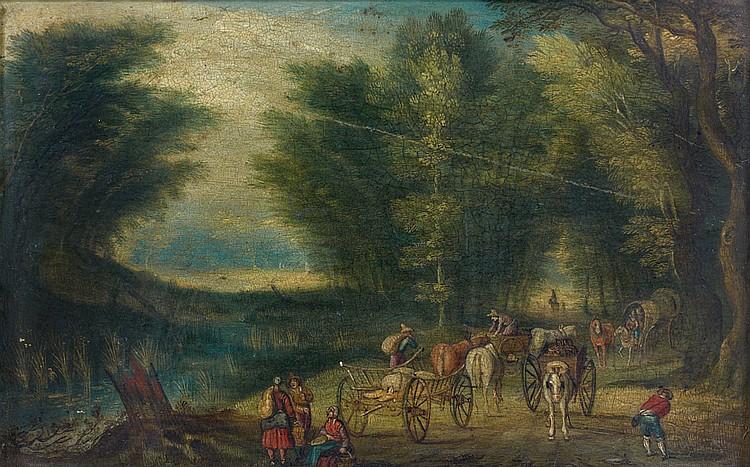 École FLAMANDE vers 1670, entourage de Jan BRUEGHEL II Paysans et charriots sur un chemin