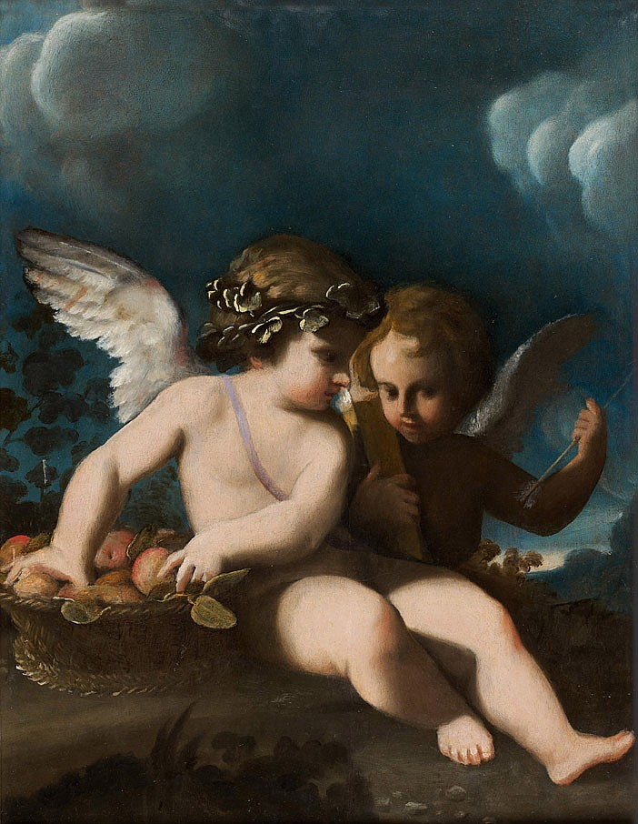 Bartolomeo SCHEDONE  (Formigine près de Modène 1578-Parme 1615) Deux putti assis près d'une corbeille de fruits Panneau doublé, parq..