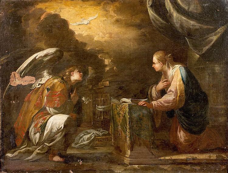 École GÉNOISE vers 1640, entourage de Bartolomeo BISCAÏNO L'Annonciation