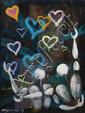 Jérôme Mesnager (Né en 1961) Les Coeurs, 1999 Acrylique et sable sur toile signée et datée en bas à gauche