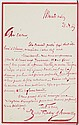 Jules BARBEY D'AUREVILLY (1808-1889). L.A.S., Mercredi matin 21 [22] novembre 1865, à un éditeur [Ferdinand AMYOT ?] ; 1 page in-8 à..