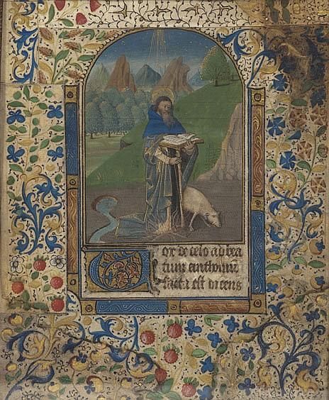 Enluminure représentant saint Antoine dans un encadrement cintré. Feuillet de livre d'Heures sur parchemin ; texte avec grande lettrin